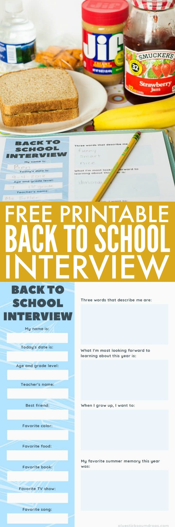 Free Printable Back to School Interview