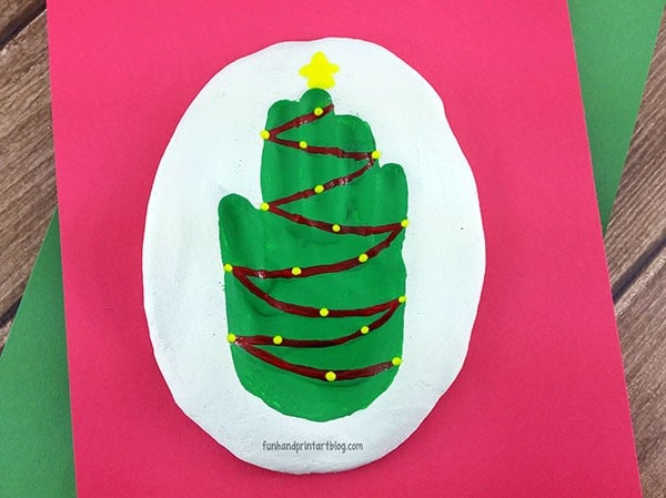 christmas tree hand impression craft