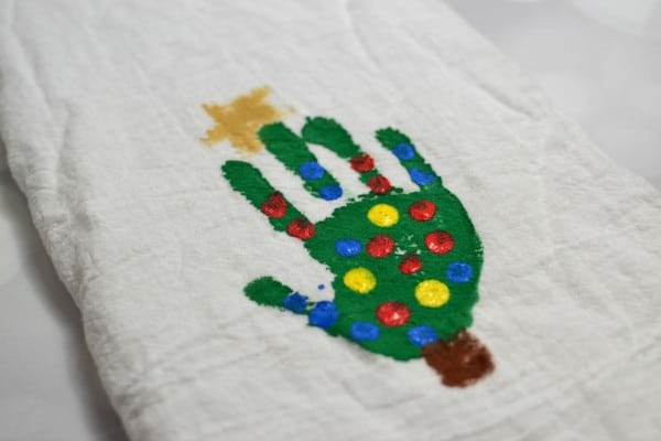 christmas tree handprint tea towels