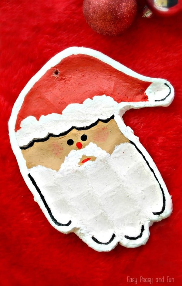 santa handprint salt dough ornament