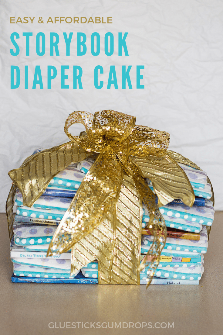Make an affordable diaper cake for the Mommy-to-Be using your favorite storybooks and Always My Baby diapers from Food Lion. Great budget baby shower gift idea!