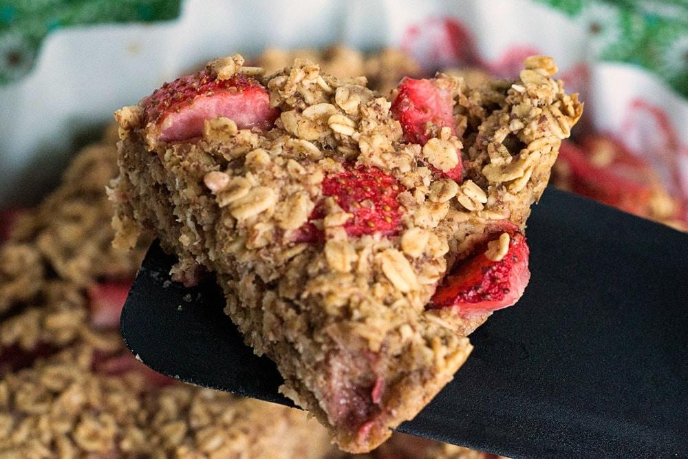 plant based baked strawberry oatmeal