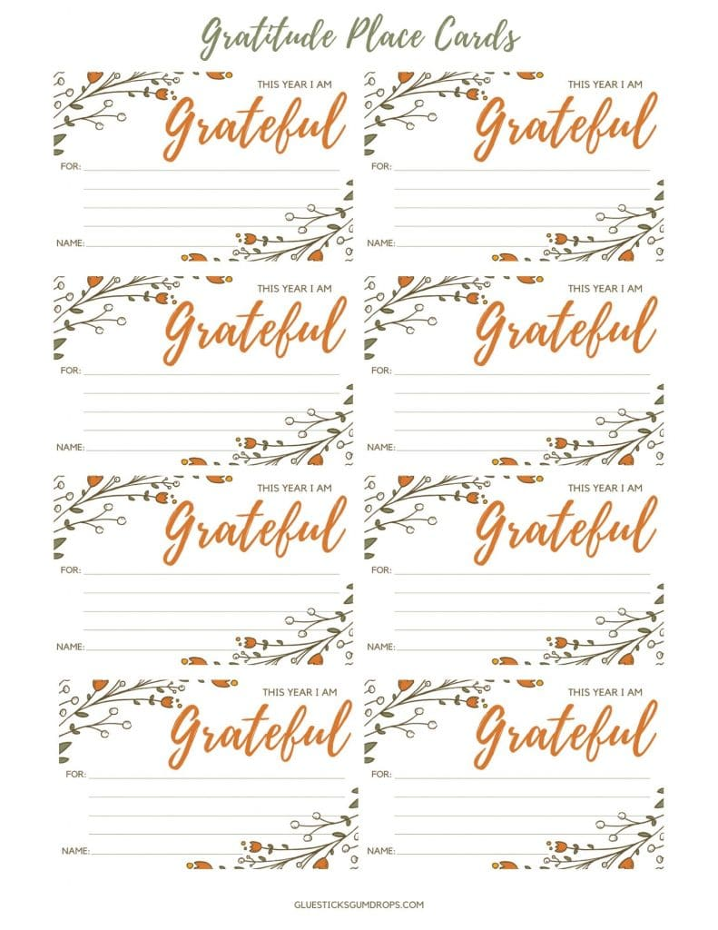 printable thanksgiving gratitude place cards