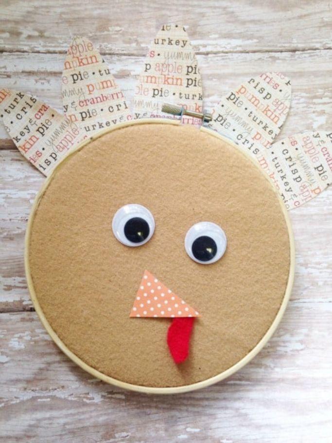embroidery hoop turkey craft