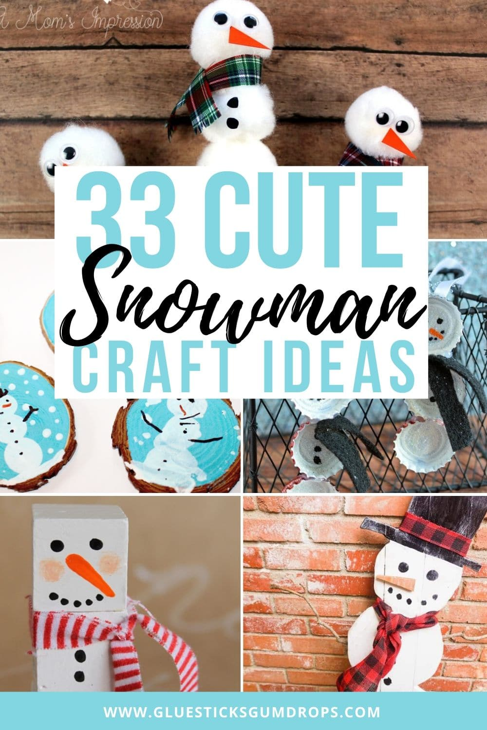 collage of various snowman crafts