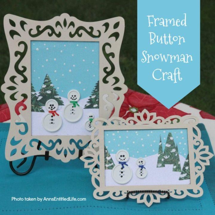button snowman craft in pretty frames