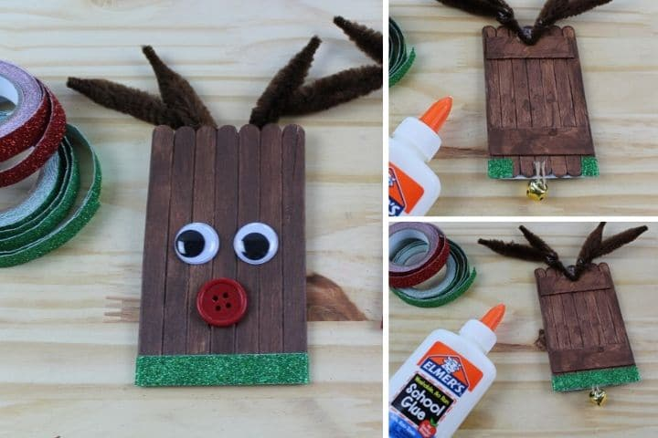 collage demonstrating how to apply the glitter tape and bell to the reindeer