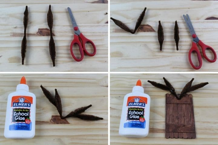 collage showing the steps to making reindeer antlers with pipe cleaners