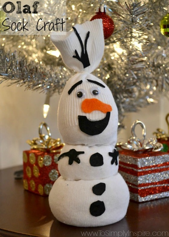 olaf snowman made from socks