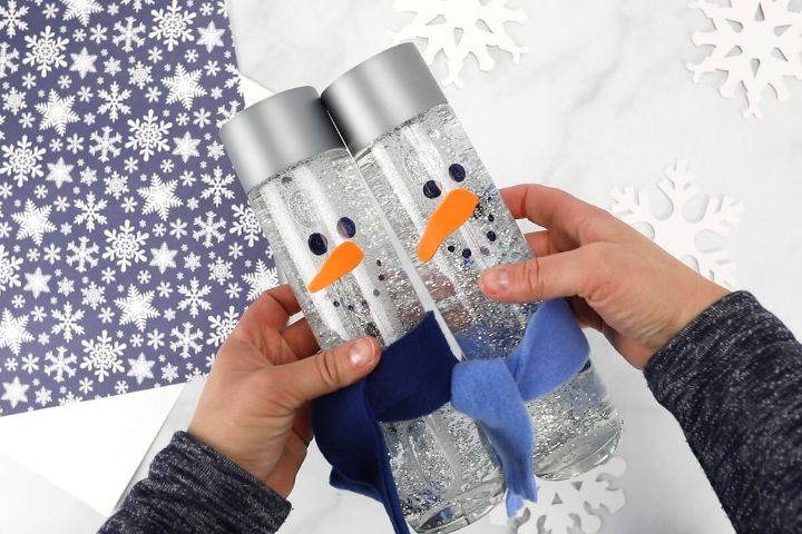 snowman sensory bottles
