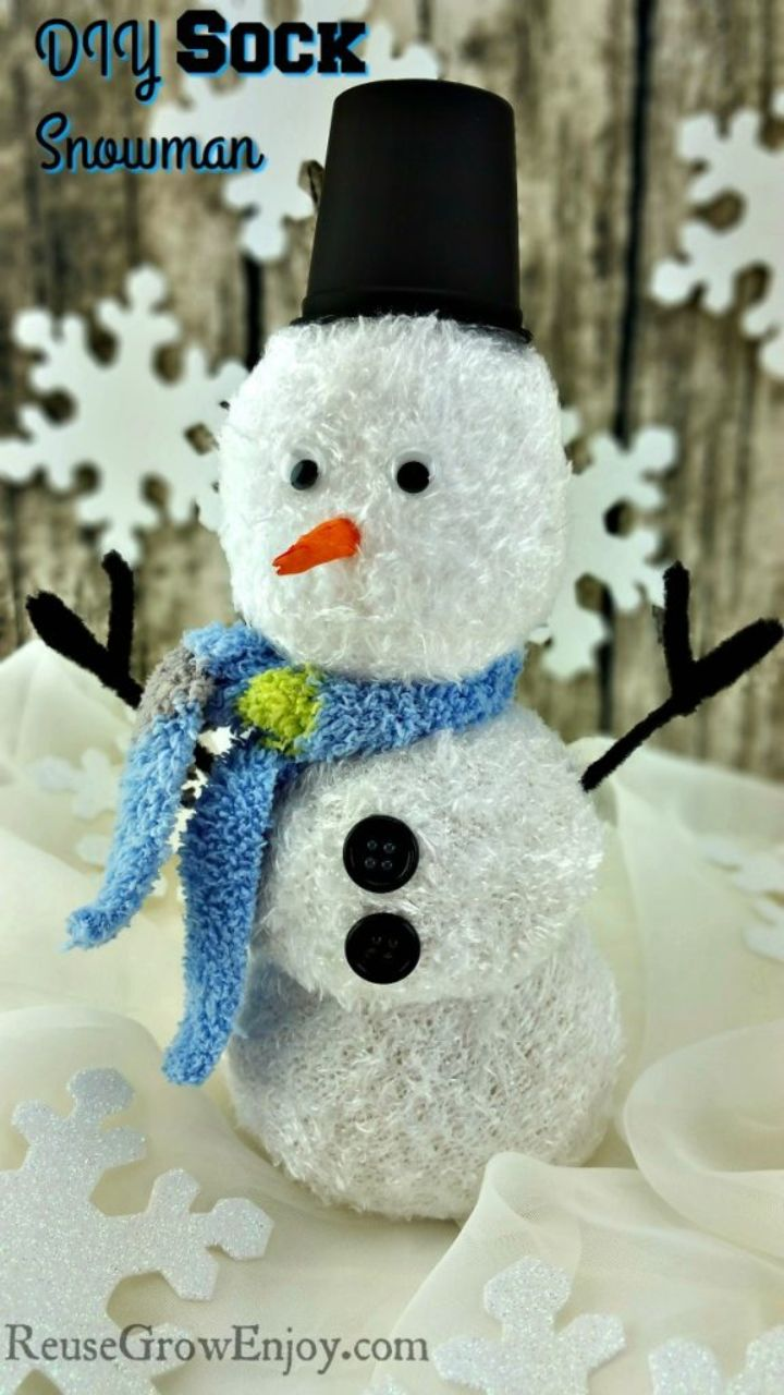 snowman made out of chenille socks