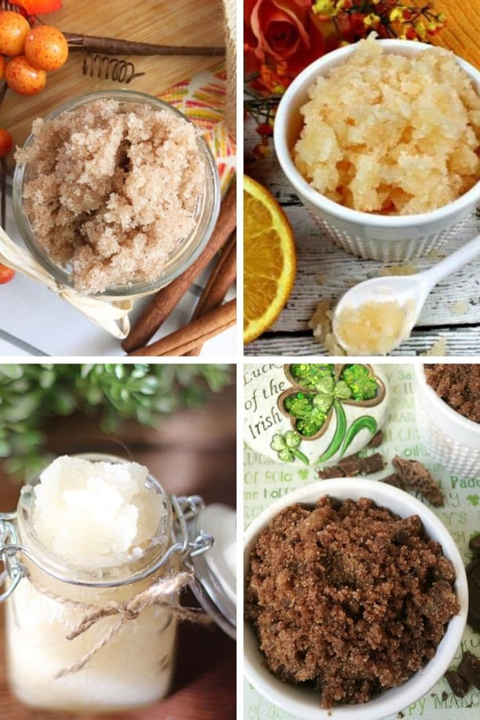 collage of sugar scrub recipes