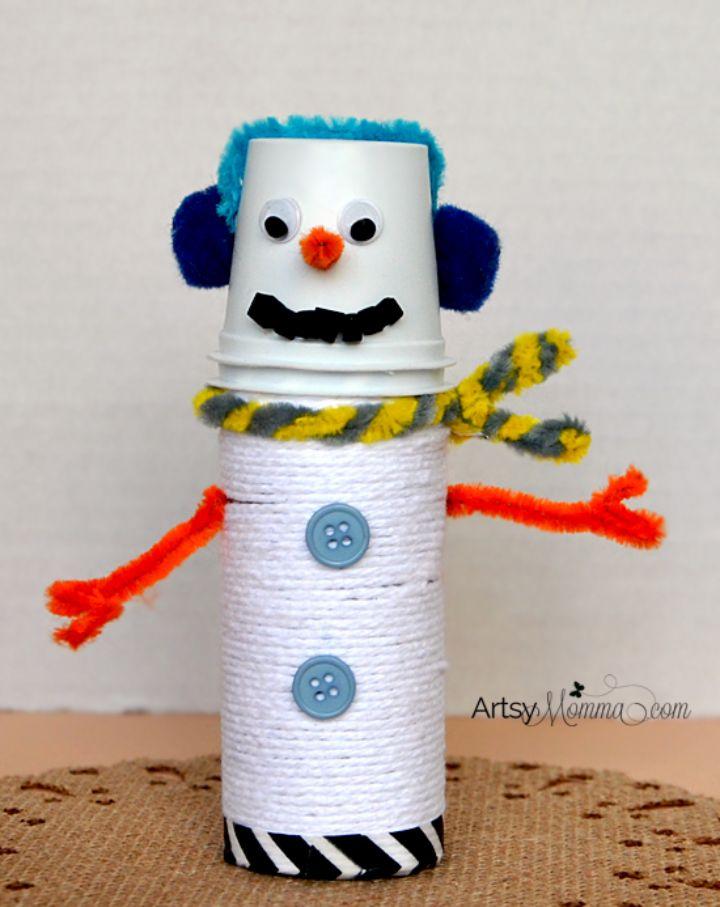 yarn-wrapped snowman