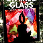 stained glass ornament on tree in the dark