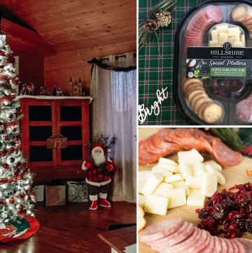 collage of home decorated for Christmas and the Hillshire Snacking Social Platters