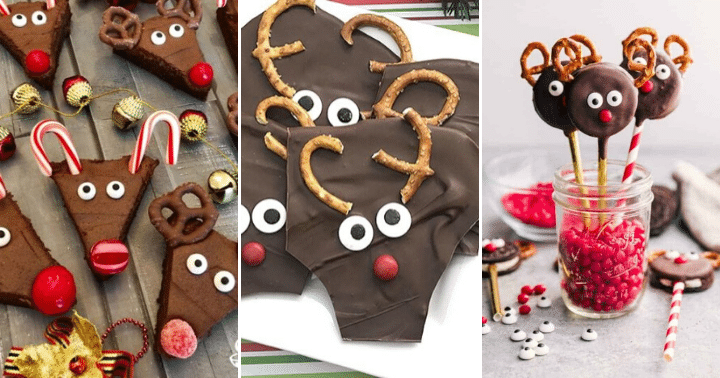 collage of 3 reindeer treats