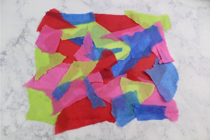 tissue paper ripped into pieces
