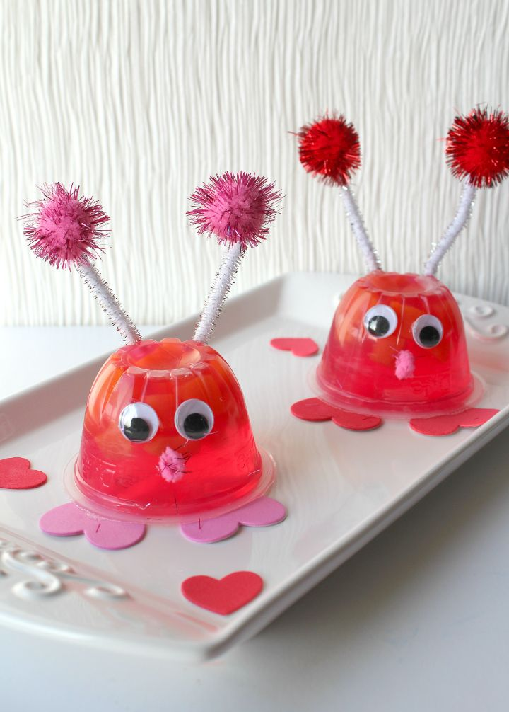 Love Bug Snacks on a white rectangular plate