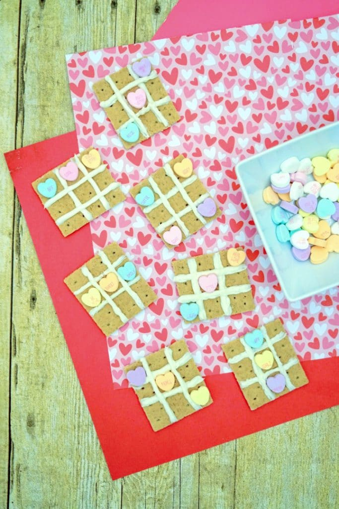 finished valentine snacks on a heart background