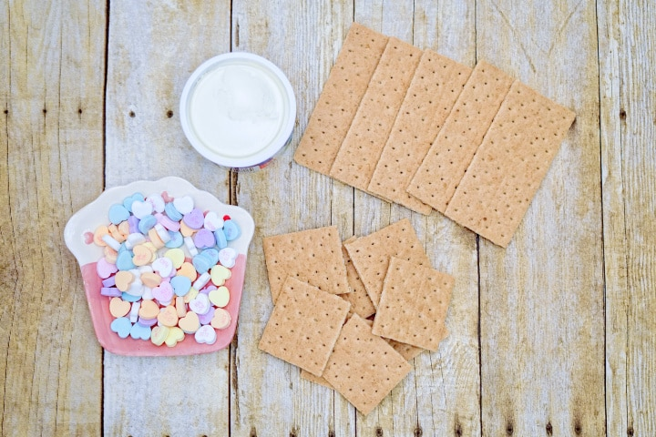 breaking graham crackers into squares
