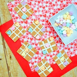 completed valentine's day tic tac toe snacks