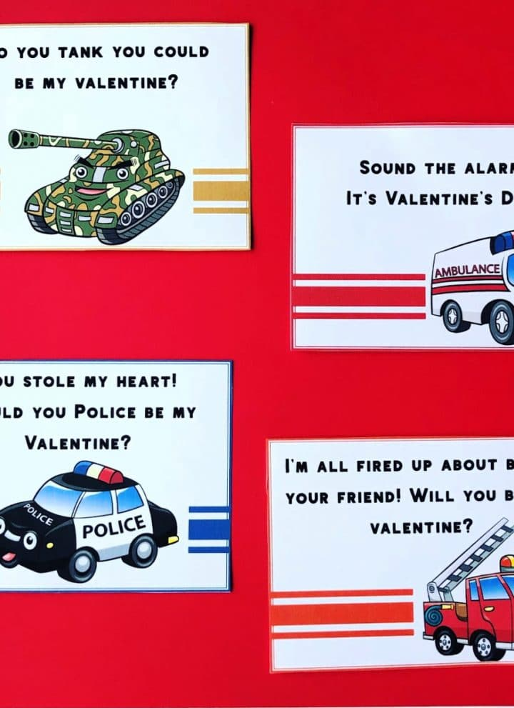 emergency vehicle valentines on red background