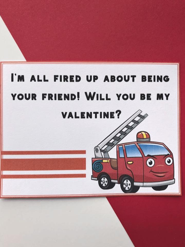 fire truck valentine