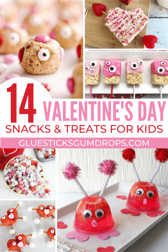 collage of Valentine's Day snacks for kids