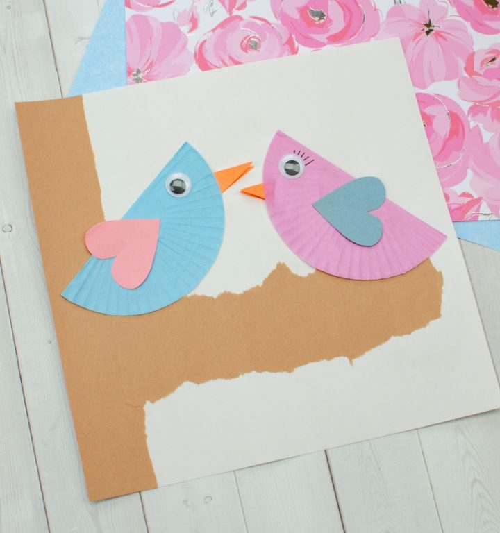 cupcake liner love birds