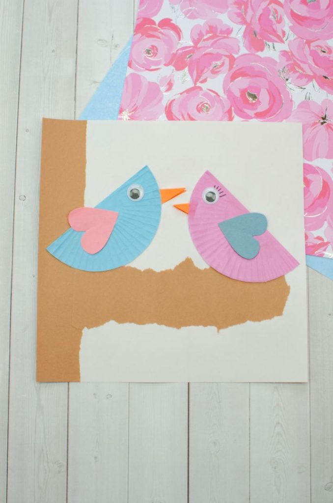 blue and pink cupcake liner love birds in a tree