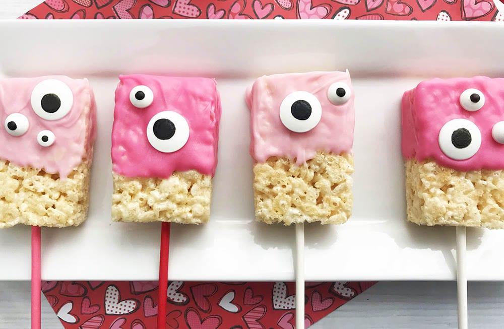 monster valentine rice krispies treats