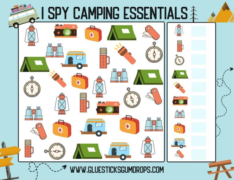 printable I Spy Camping game