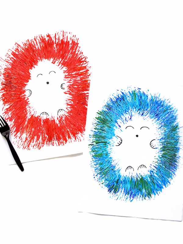fork painted hedgehogs by our kid things