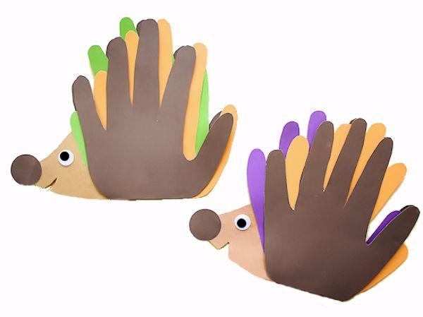 handprint hedgehog card by our kid things
