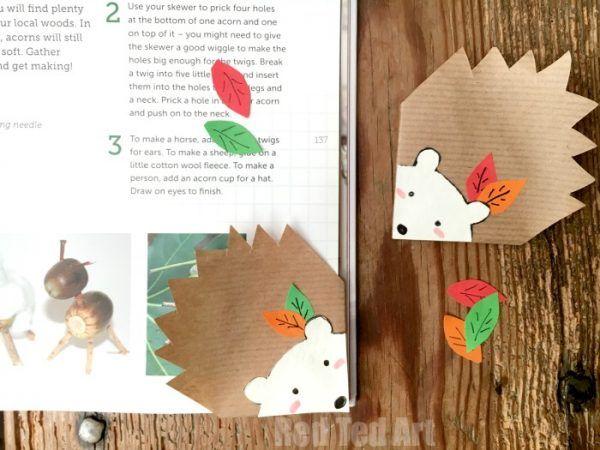 hedgehog corner bookmarks by red ted art