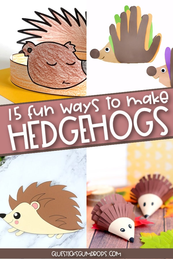 collage of 4 different hedgehog craft ideas for kids