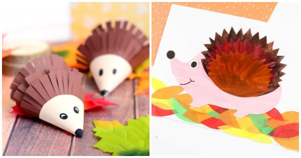 paper hedgehog crafts collage