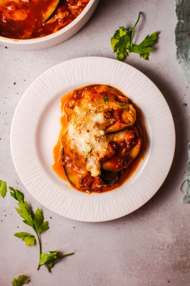 yummy eggplant lasagna made with low-carb ingredients