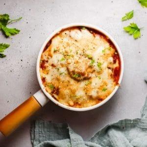 keto eggplant lasagna in small pan