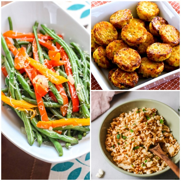 collage of low carb side dish recipes