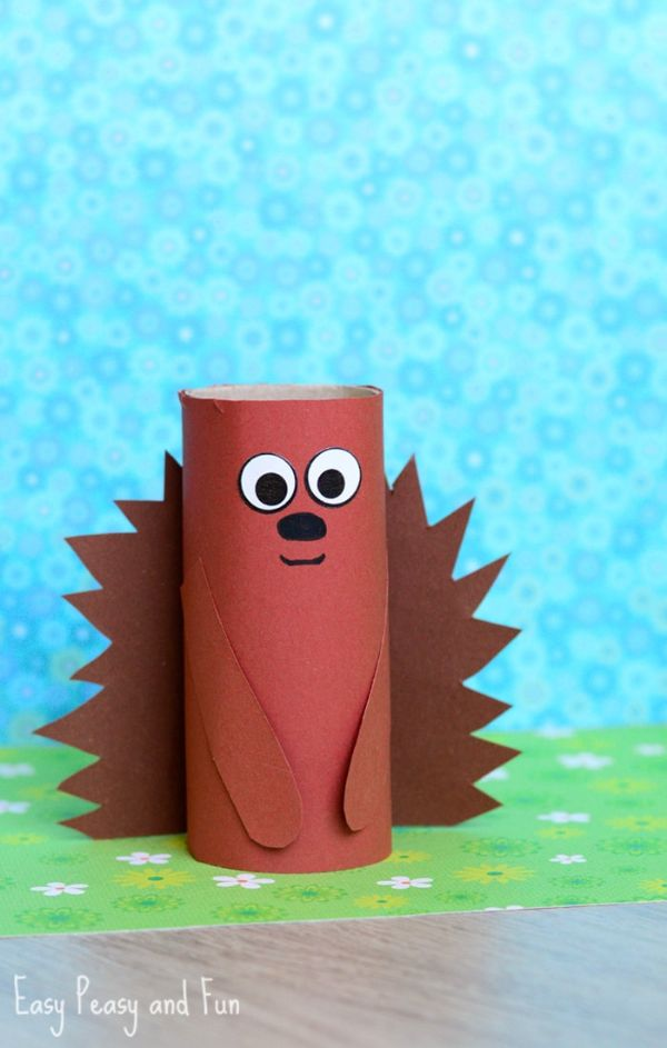 toilet roll hedgehog by easy peasy and fun