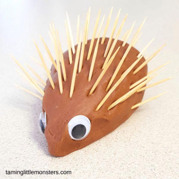 playdough hedgehog by taming little monsters