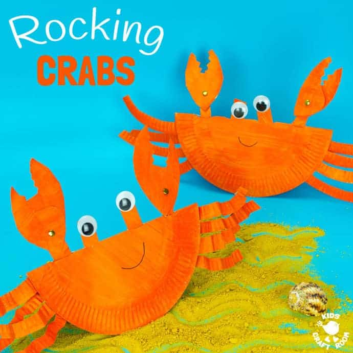 rocking crabs made out of paper plates