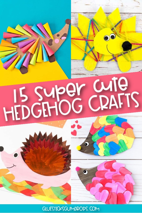collage with 4 hedgehog art projects kids will love