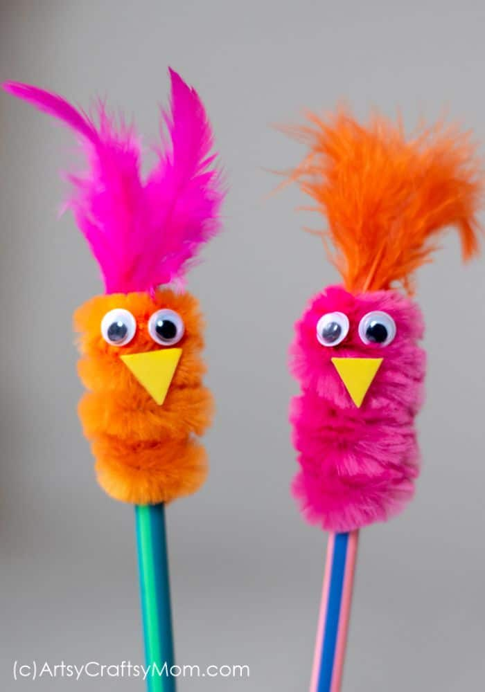 bird pencil toppers made with pipe cleaners