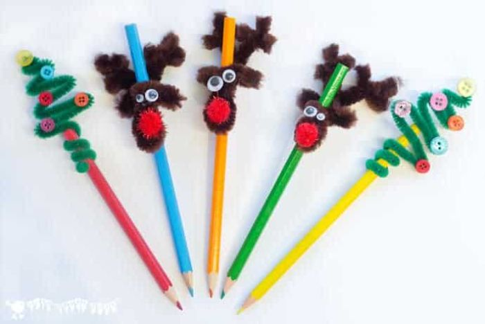 pipe cleaner Christmas pencil toppers - reindeer and Christmas trees