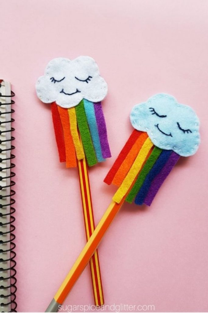 rainbow cloud pencil toppers