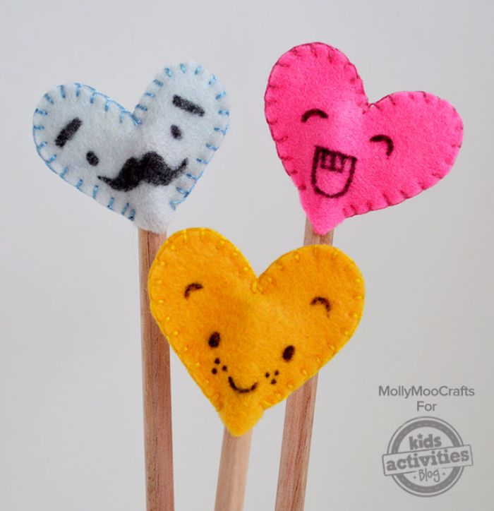 heart pencil toppers with silly faces