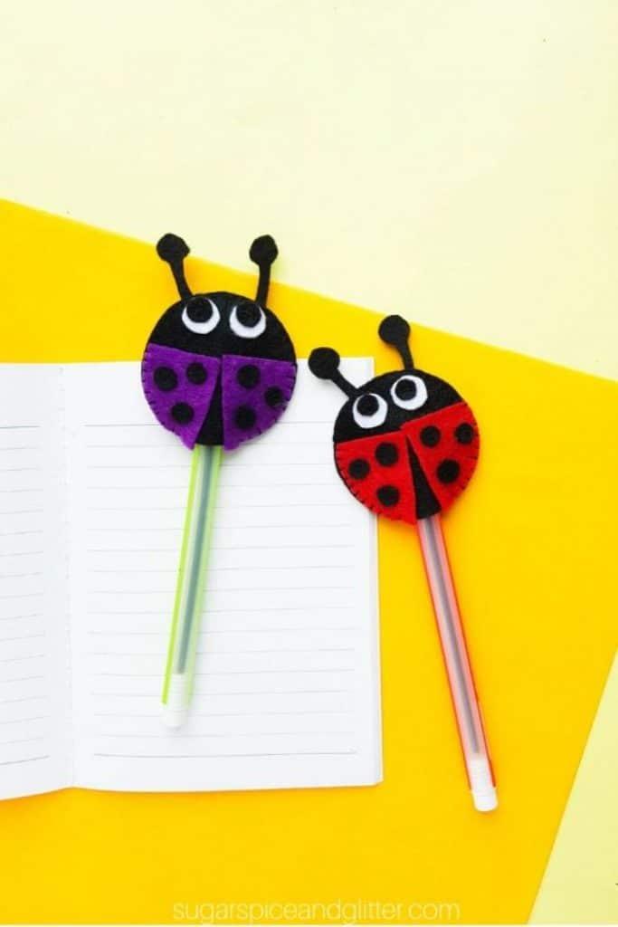 ladybug or ladybird pencil toppers