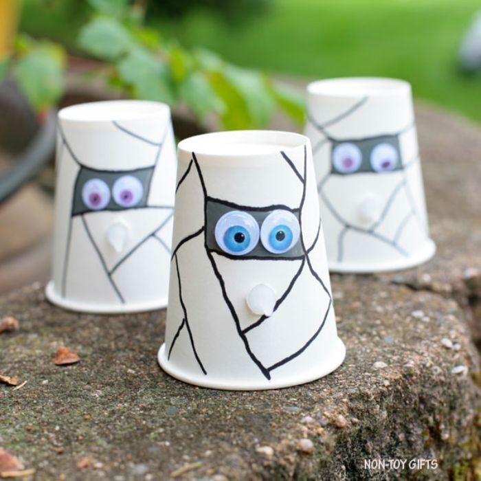 light up paper cup mummies